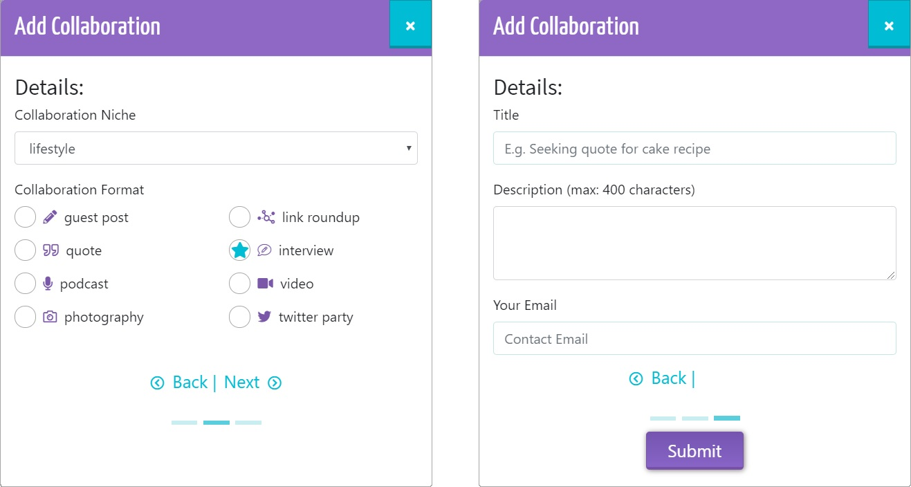 add your blogger collaboration